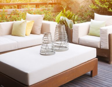 garden furniture on decked patio