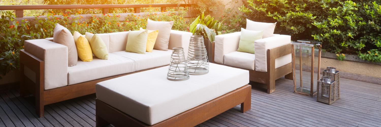 garden furniture on decked patio